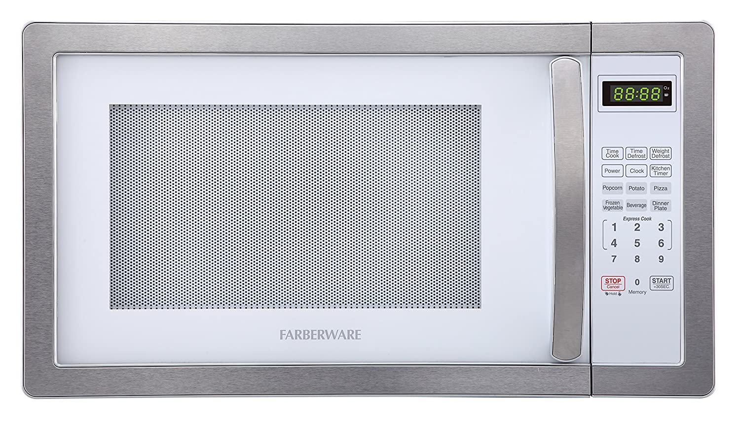 Farberware FMO11AHTBKD 1.1 Cu. Ft. 1000-Watt Microwave Oven with LED Lighting Cubic Feet, White/Platinum