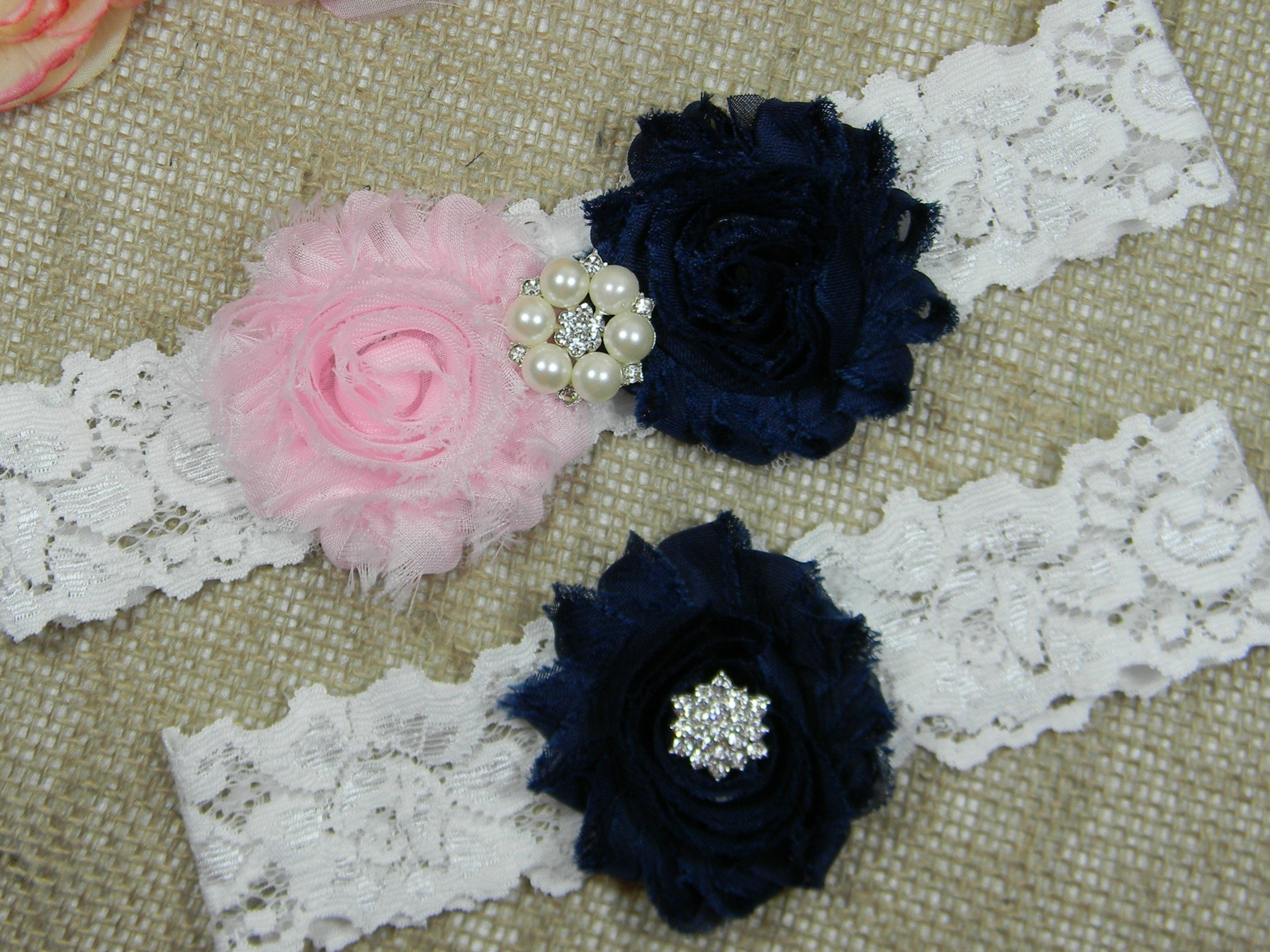 Pink and Navy Blue Garter, Wedding Garter Set, Bridal Garter Belt, Keepsake and Toss Stretch Lace Garters