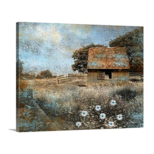 Farmhouse Barn Daisy Flowers Brown Blue Canvas 16″ x 20″ Photography Bedroom Living Room Wall Art Picture
