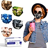 Camo Disposable Face Mask, Camouflage Printed Stylish Masks 3ply Individually Wrapped, Multicolored Breathable Comfy Soft Mas