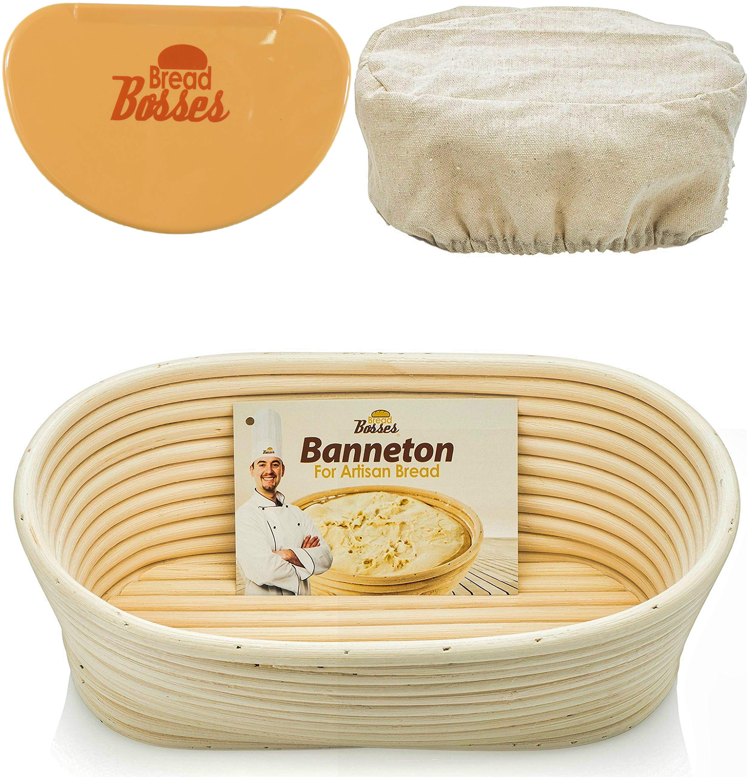 10 Inch Oval Banneton Proofing Basket - Sourdough Bread Proving Baskets w/Bowl Scraper, Brotform Cloth Liner, Starter Recipe for Baking - Making Dough w/Rising Bannetons Banetton Benneton Proof Set