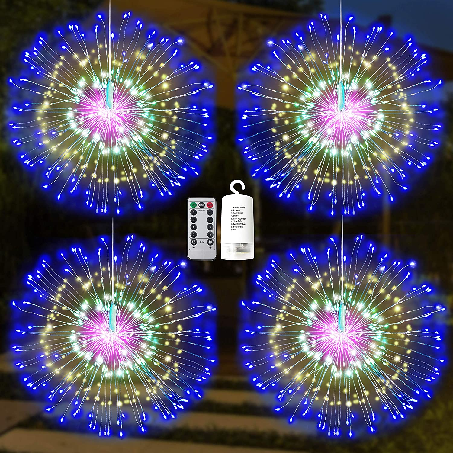 Joiedomi 4 Pack of Firework Copper Wire Hanging 200 LED Starburst Lights Waterproof for Christmas Home Party, Wedding Garden, Xmas Patio Bedroom Décor, Indoor Outdoor Decorations