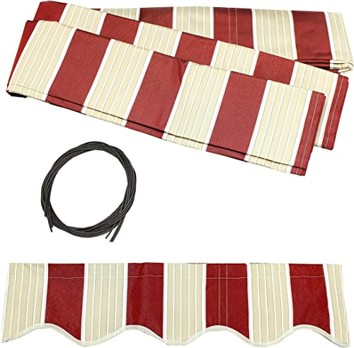 ALEKO FAB12X10MSTRED19 Retractable Awning Fabric Replacement 12 x 10 Feet Multi-Stripe Red