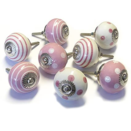 Pushka Home Juego de 8 pomos rosa de cerámica tradicional para ...