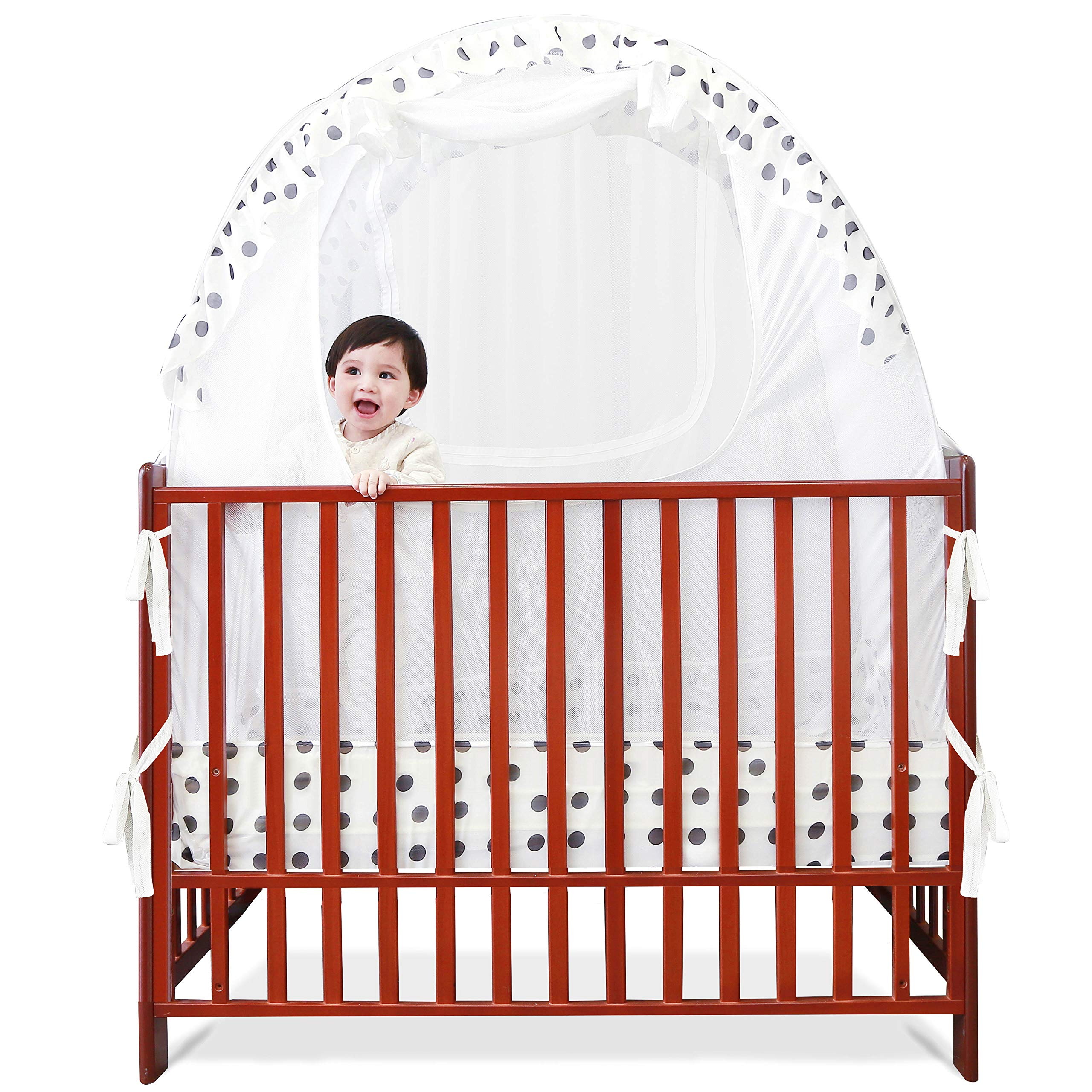 SDADI Baby Crib Safety Tent Pop Up Mosquito Net with Baby Monitor Hang Ribbon,Toddler Bed Canopy Netting Cover |Dots WLCN01D by SDADI (Image #6)