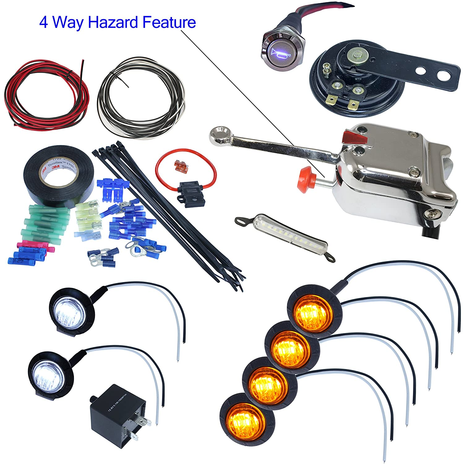 With License Plate LED, Round LED Lights UTV Heavy Duty Lever Switch Turn Signal Kit with Horn and Hardware