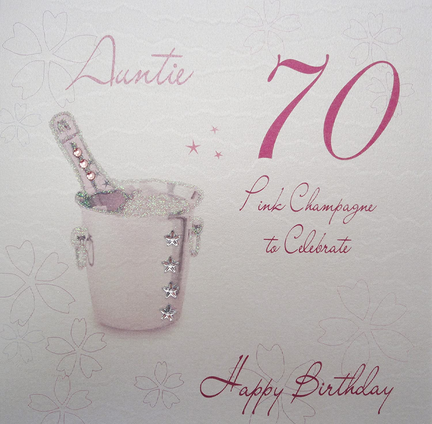 White cotton cards wba70p a pink champagne auntie 70 happy white cotton cards wba70p a pink champagne auntie 70 happy birthday handmade 70th birthday card white amazon kitchen home kristyandbryce Choice Image