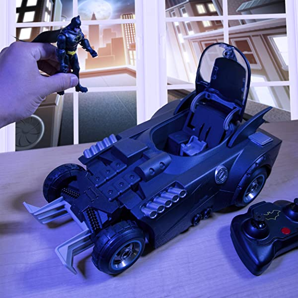 BATMAN Launch and Defend Batmobile Remote Control Vehicle with Exclusive 4-inch Action Figure toy for kids