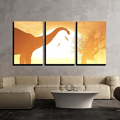 Dinosaurs Sunset Canvas Wall Art Picture Print
