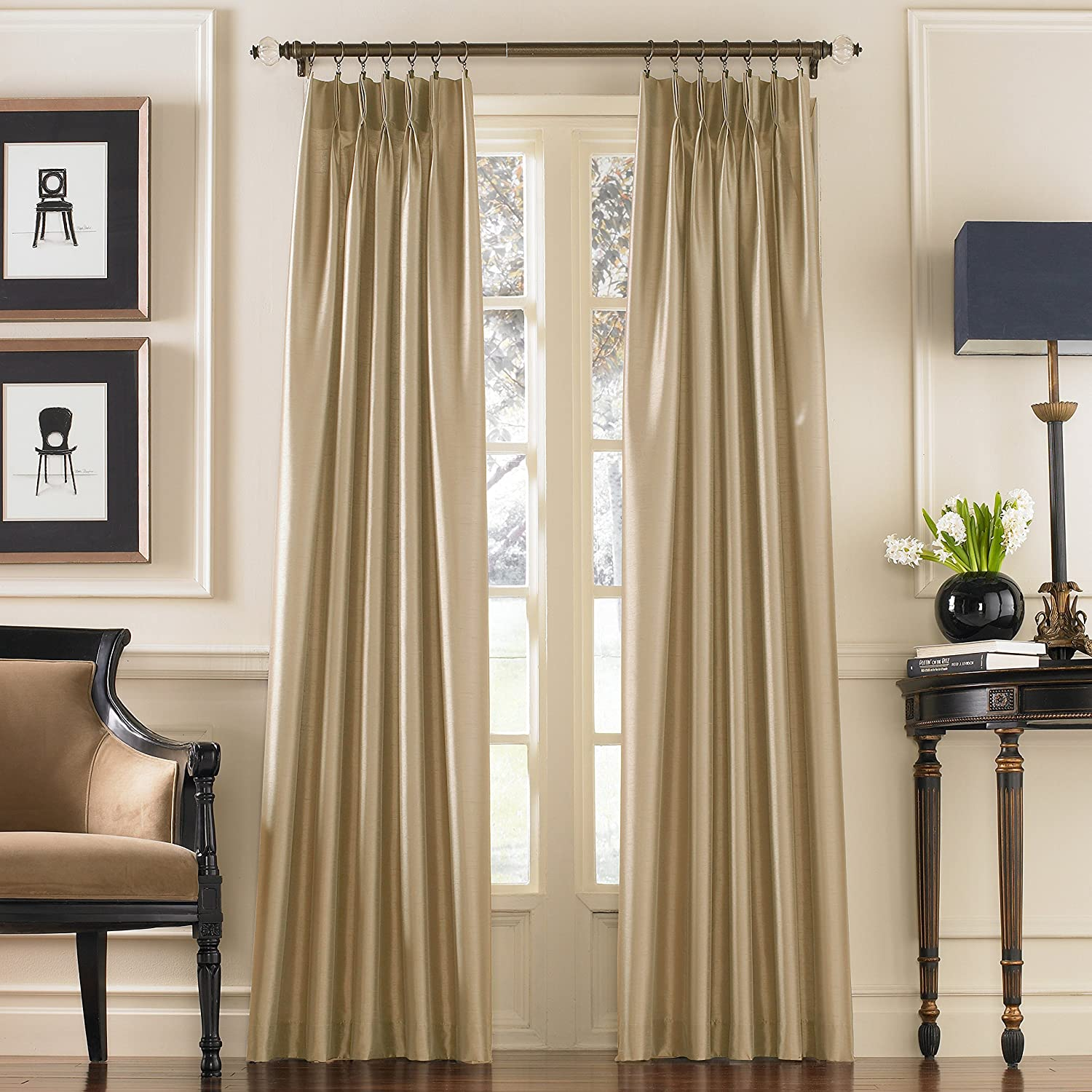 Bronze Curtainworks Marquee Faux Silk Pinch Pleat Curtain Panel 30 by 108