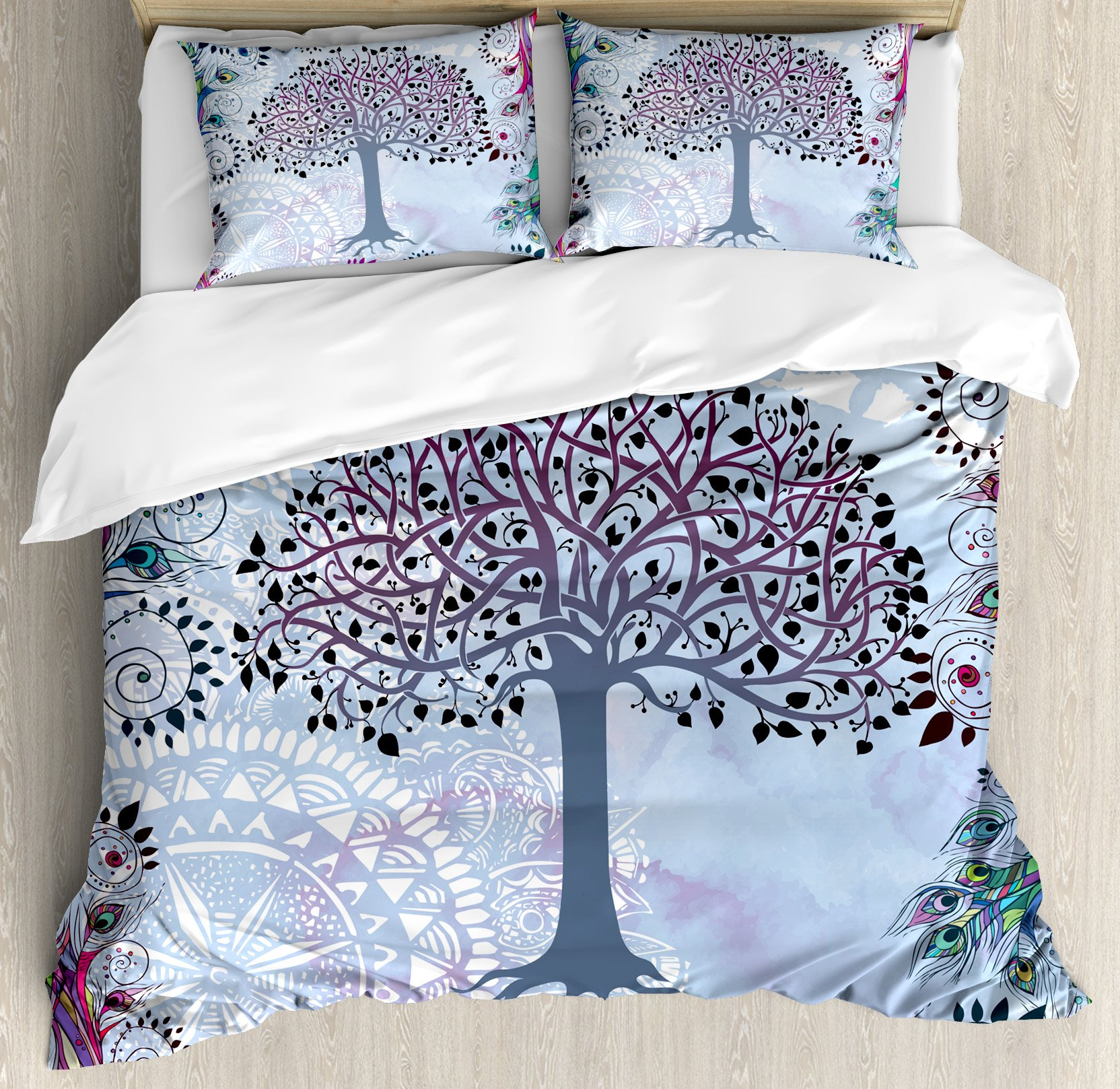 Nature Duvet Cover Set King Size by Ambesonne, Cute Tree of Life Motif with Peacock Feathers Tribal Vintage Primitive Nature Illustration, Decorative 3 Piece Bedding Set with 2 Pillow Shams, Blue