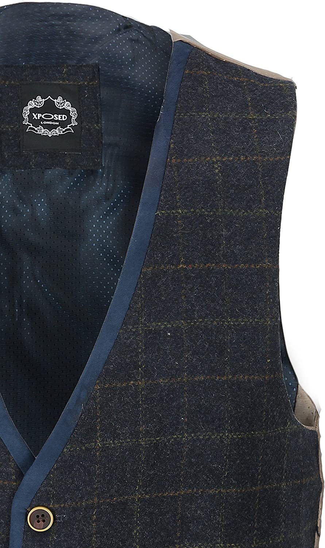 Mens Vintage Blue Herringbone Tweed Check 3 Piece Suit Blazer Trouser Waistcoat Sold as Tailored Separates