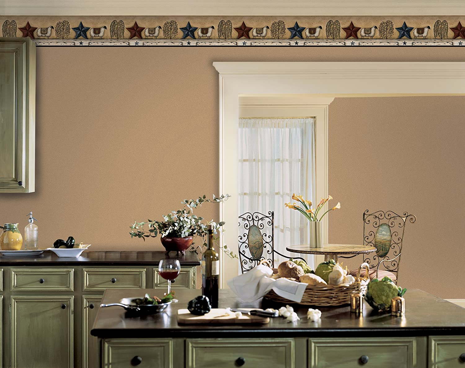 York Wallcoverings Best of Country PC4049BD Sheep Star Border Almond