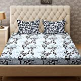Bombay Dyeing Cynthia 120 TC Polycotton Double Bedsheet with 2 Pillow Covers - Grey
