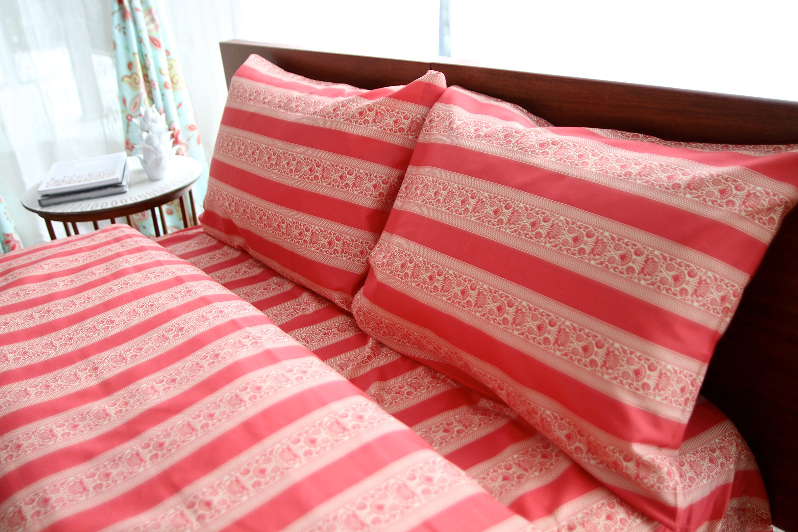 Amy Butler Sari Bloom Red Stripes and Floral Cotton Sheet Set, King