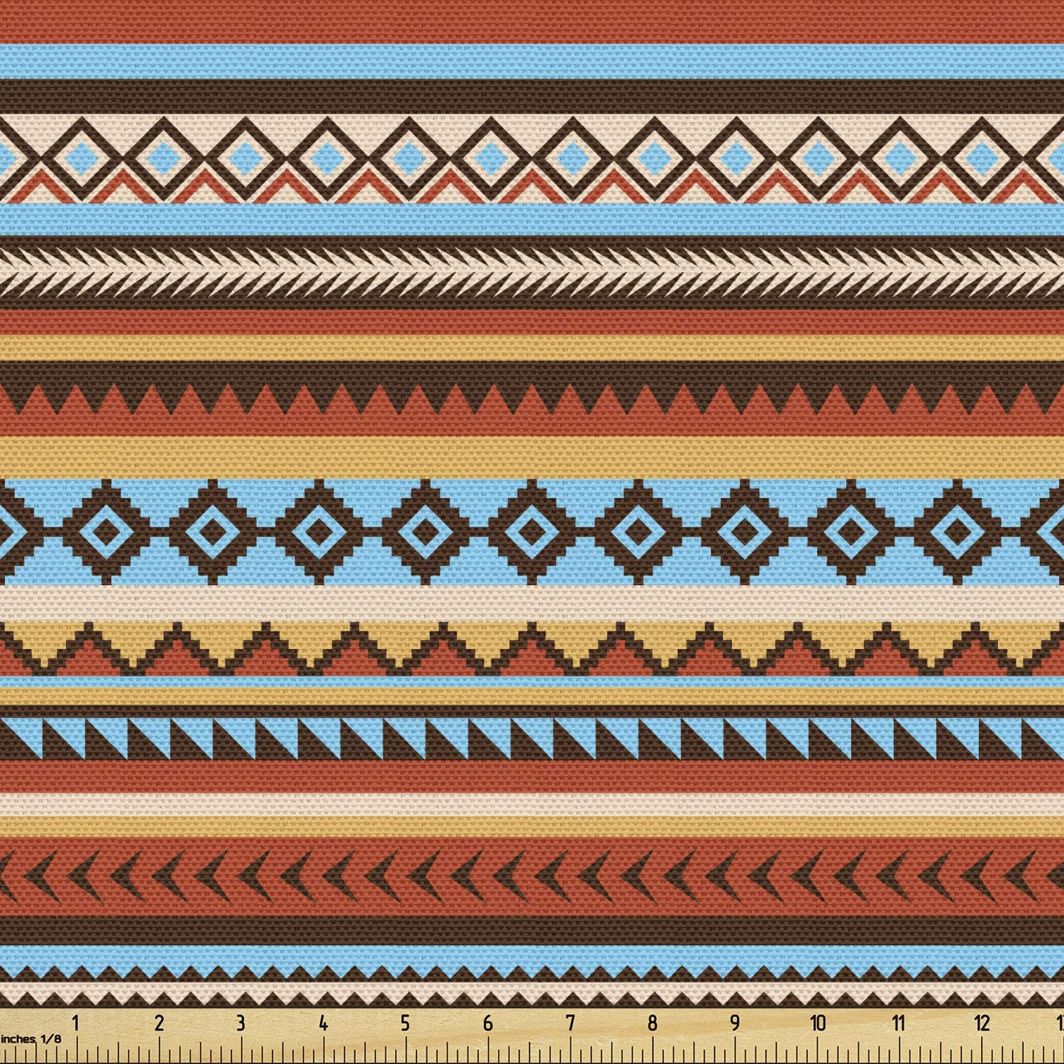 Whole Piece-Blue and Orange Circle Pattern On Brown Cotton Blend 2 Yard Piece