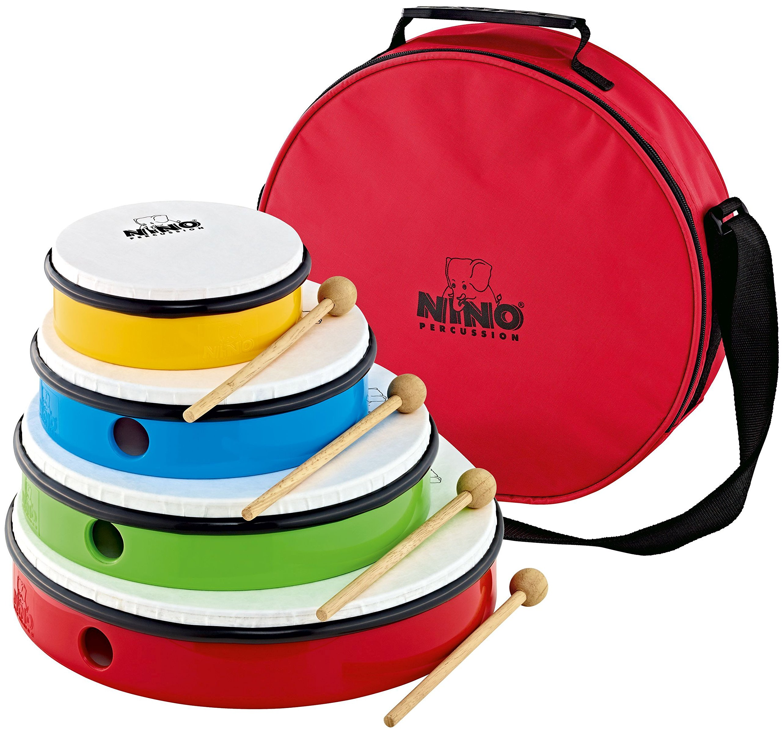 Nino Percussion NINOSET6 Hand Drum Set with 4 Drum Sizes, Includes 4 Mallets & Bag