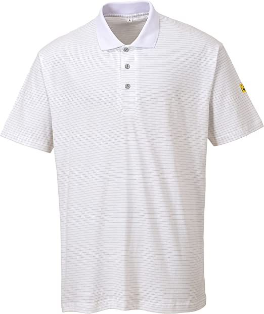 Portwest AS21 - Camisa antiestática ESD Polo, color Blanco, talla ...