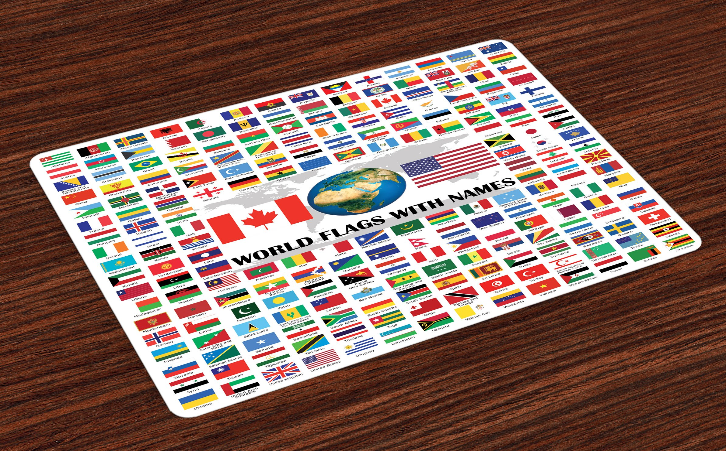 Ambesonne Flags Place Mats Set of 4, Big Collection of World Flags with Names Different Countries Nationalities Patriotic, Washable Fabric Placemats for Dining Room Kitchen Table Decor, Multicolor by Ambesonne (Image #1)