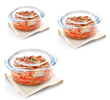 Treo Borosilicate Glass Round Casserole with Lid, Microwave Safe (750, 1500, 2000Ml) - Set Of 3