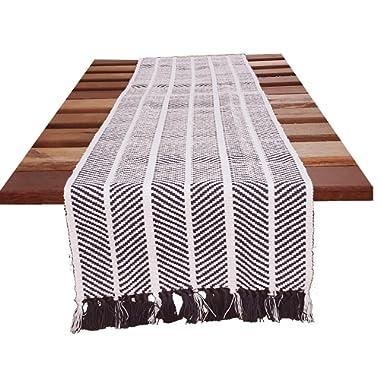 HomweLinen Table Runner, 100% Cotton Woven Fringed, Retro Zig Pattern, Table Runner - 14x72 Inch, Grey/White