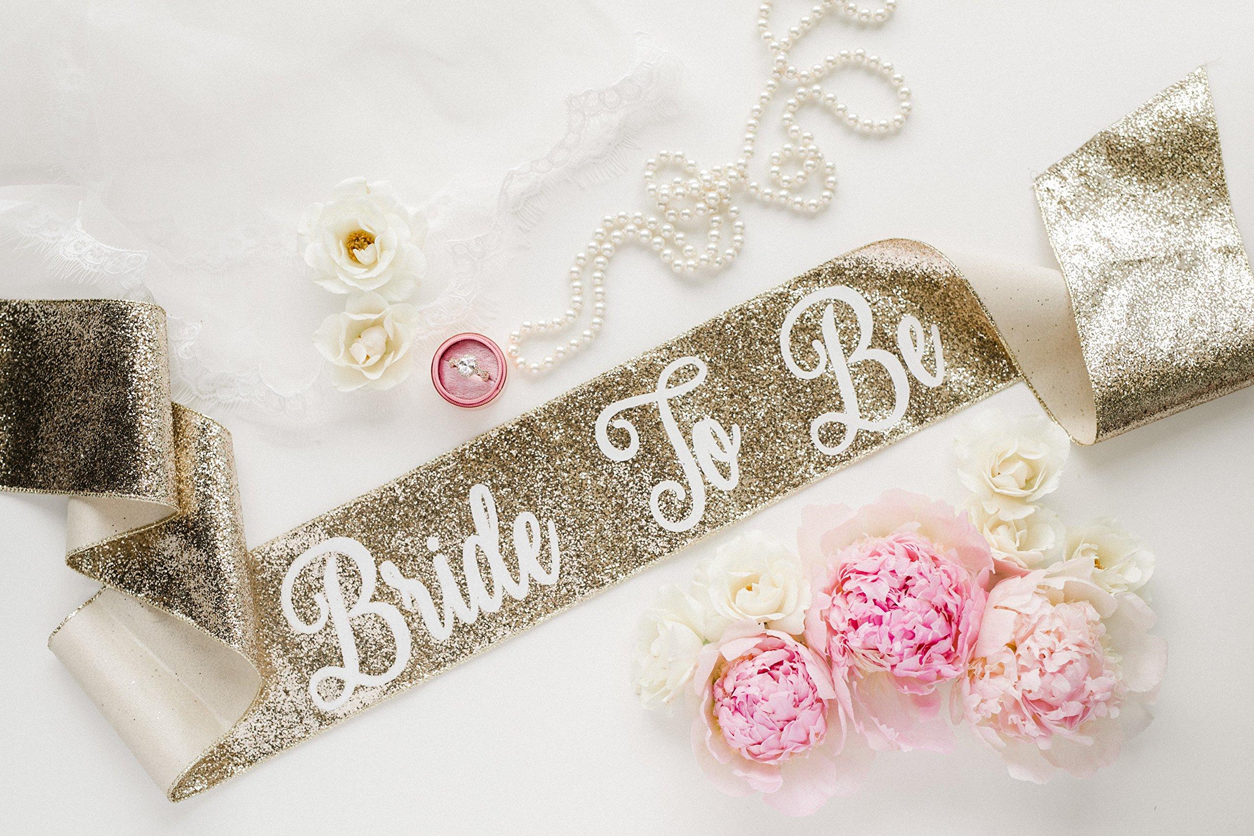 Glitter Bachelorette Sash - Glitter Bridal Sash - Gold Glitter
