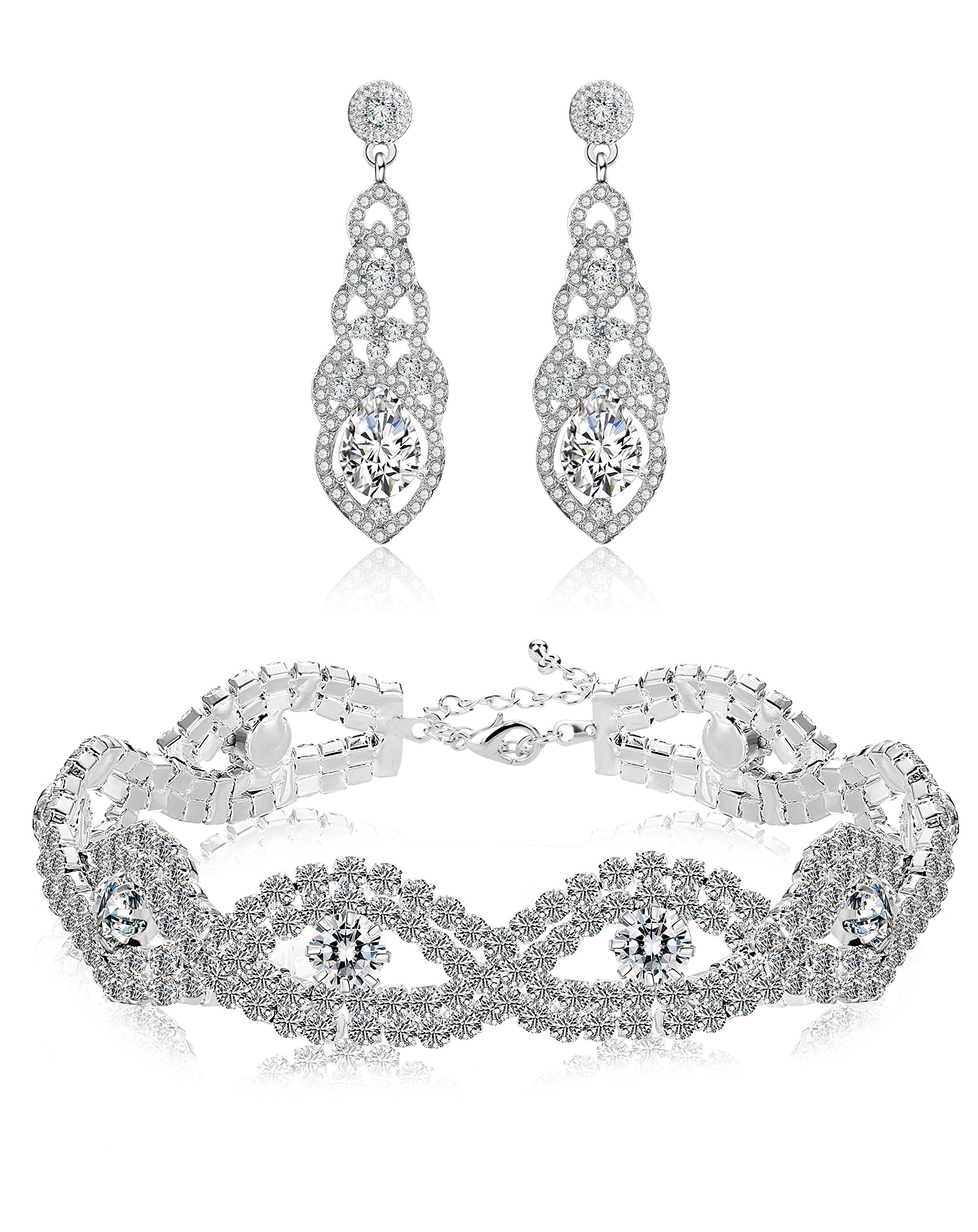 Hanpabum Bridal Wedding Jewelry Set for Women Bracelets and Dangle Teardrop Earrings Set for Women Jewelry Made with Clear Crystals (Earings and Bracelets)