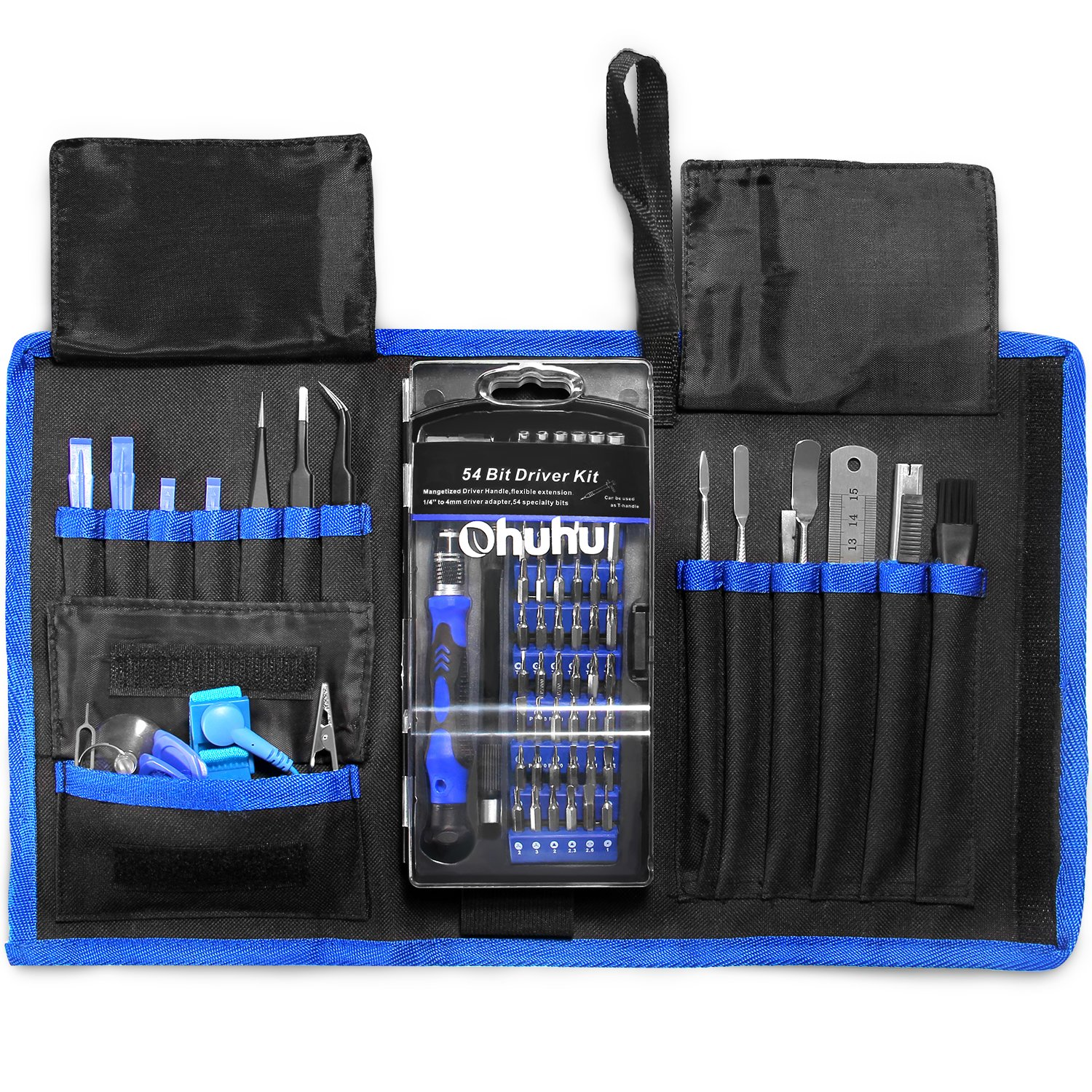 Repair Tools Kit, Ohuhu 77-IN-1 Screwdriver Set, Professional Precision Magnetic Driver Kit with Portable Bag, Screwdriver Bits with Flexible Shaft for iPhone X/ 8/ 8 Plus/ Mobile phone/ Tablet