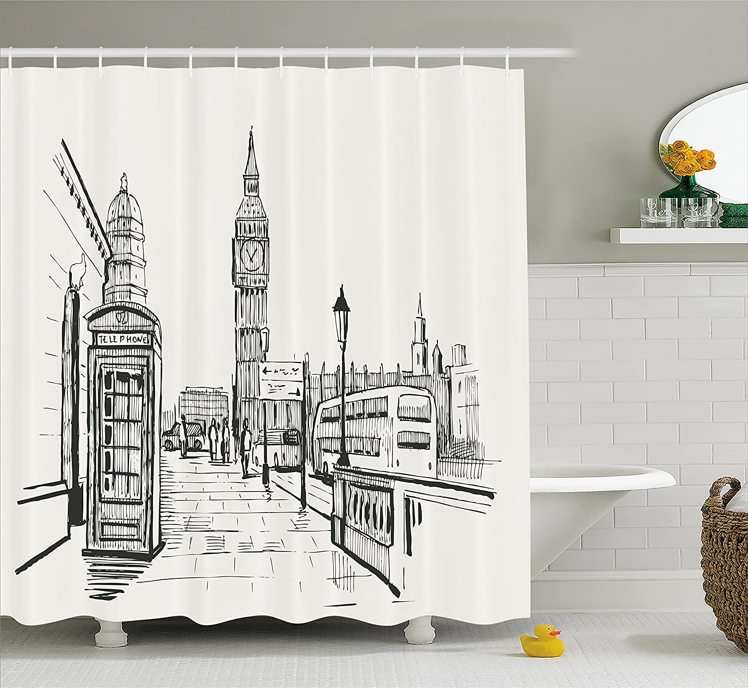 Ambesonne Modern Shower Curtain London City With Big Ben Monument Scene In Sketch Style British Famous Town Artwork Fabric Bathroom Decor Set With Hooks
