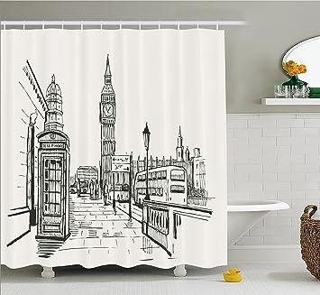modern shower curtain white ambesonne modern shower curtain london city with big ben monument scene in sketch style british amazoncom