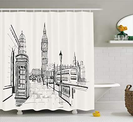 Ambesonne Modern Shower Curtain London City With Big Ben Monument Scene In Sketch Style British