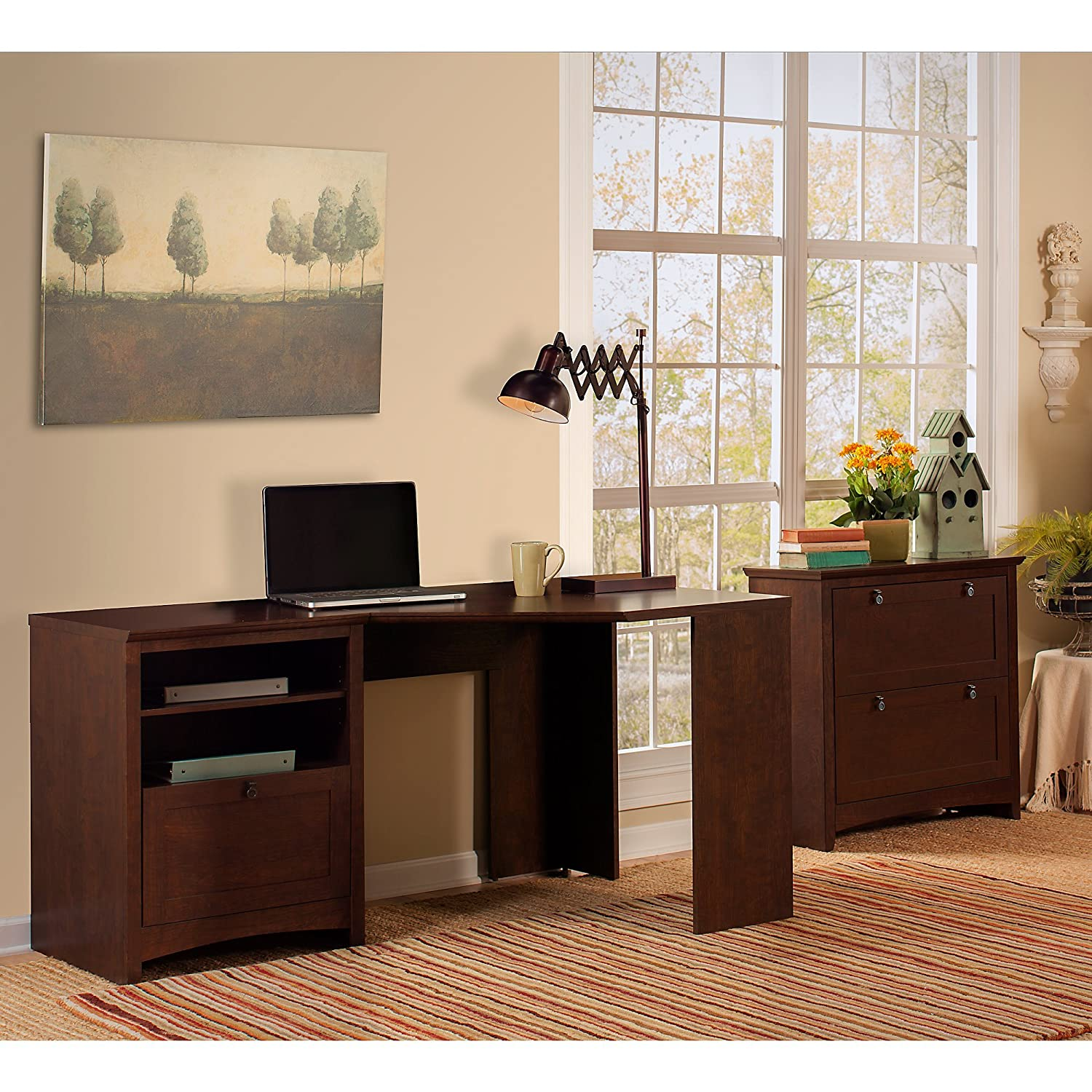 Buena Vista Corner Desk with Lateral File Cabinet