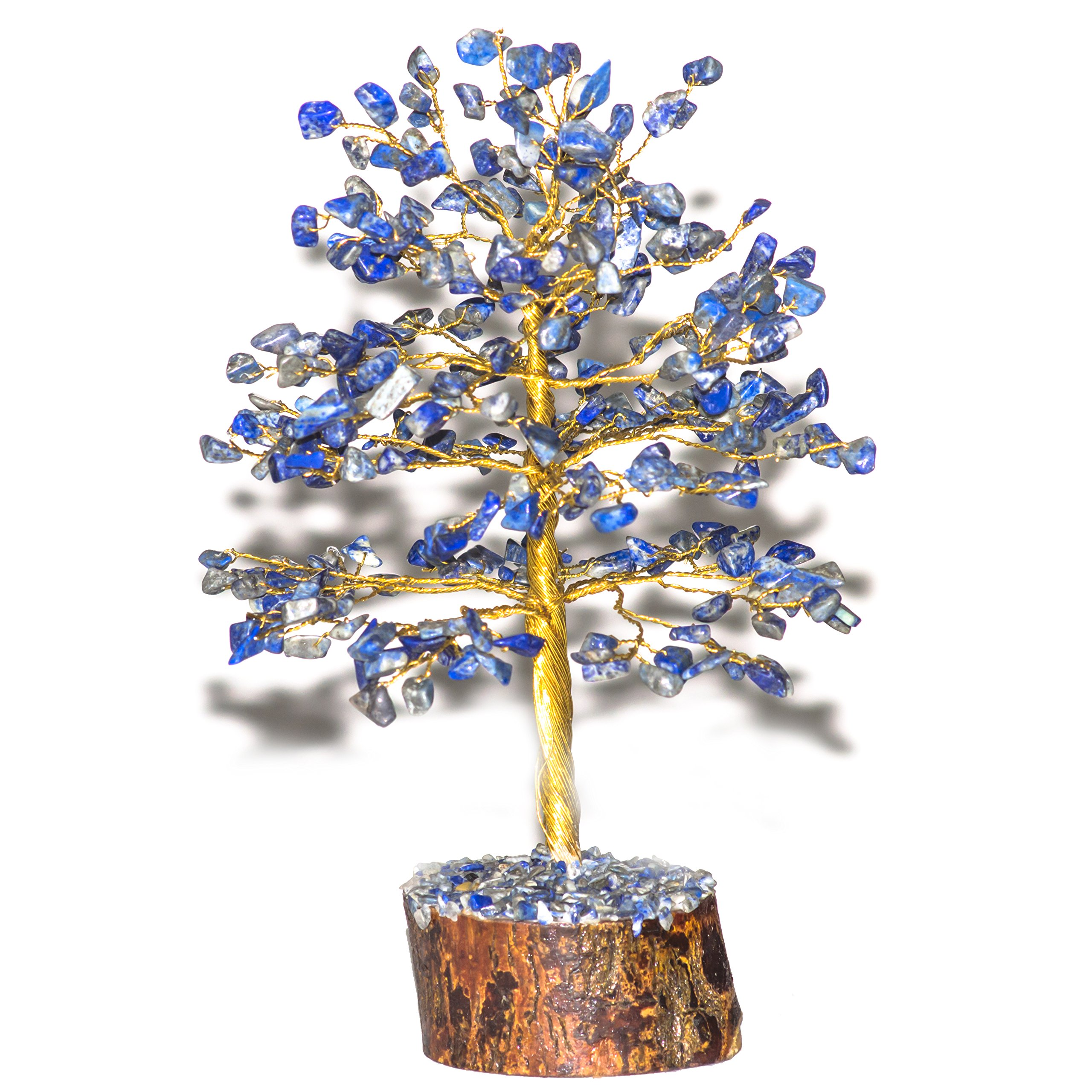 Crocon Natural Color Healing Gemstone Crystal Bonsai Fortune Money Tree for Good Luck, Wealth & Prosperity Spiritual Gift Size-10 INCH (Golden Wire) (Lapis Lazuli)