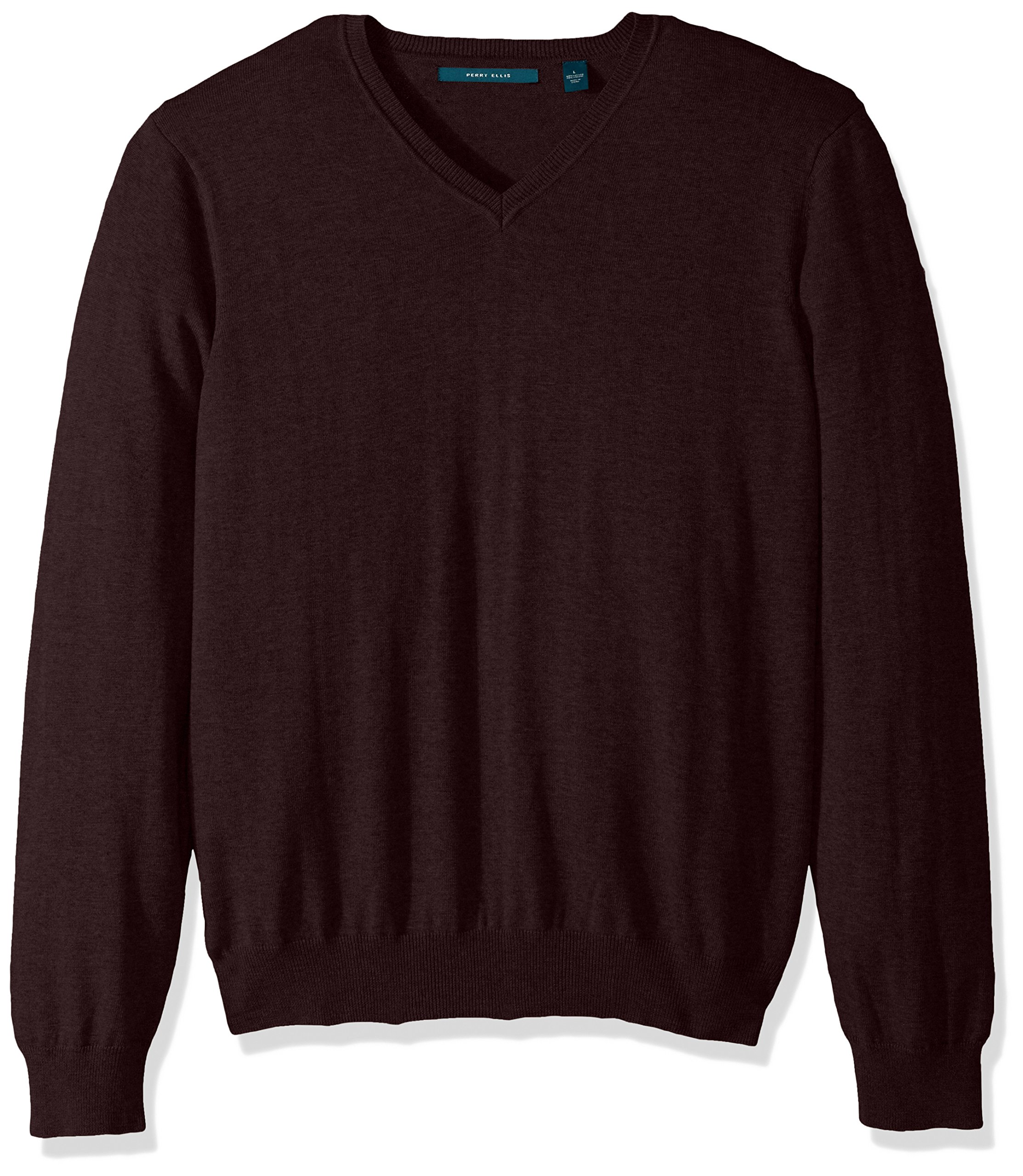 Perry Ellis Men's Classic Solid V-Neck Sweater, Port-4BFG7247, Extra Extra Large