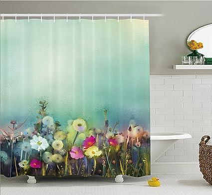 Acuarela flores decoración para el hogar cortina de ducha por Ambesonne, Margarita Manzanilla Patrones de