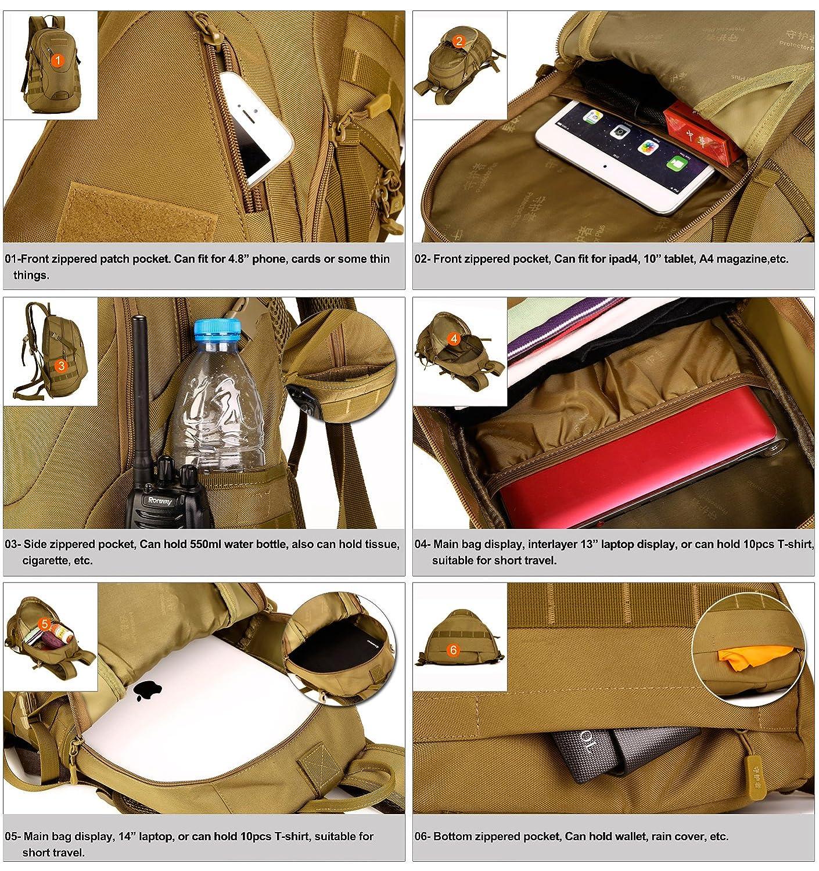 Huntvp Mochila de Asalto Estilo Militar T/áctical Bolsa de Hombro Impermeable de Nylon 20L Para Las Actividades Aire Libre Senderismo Caza Viajar