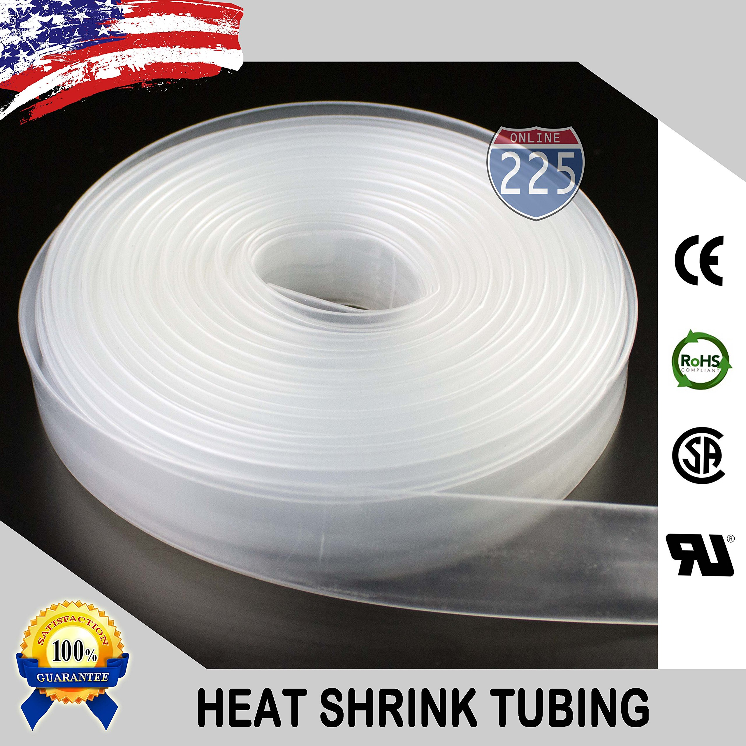 25 FT 3/4'' 19mm Polyolefin Clear Heat Shrink Tubing 2:1 Ratio