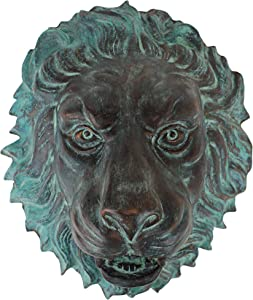 Design Toscano Florentine Lion Head Spouting Bronze Garden Wall Sculpture