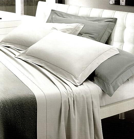 Completo sábanas matrimonio (satén de algodón puro Rigato Color Blanco Riga 3 cm (sábana encimera 250 x 290, sábana bajera ajustable 180 x 200, fundas de almohada 50 x 80): Amazon.es: Hogar