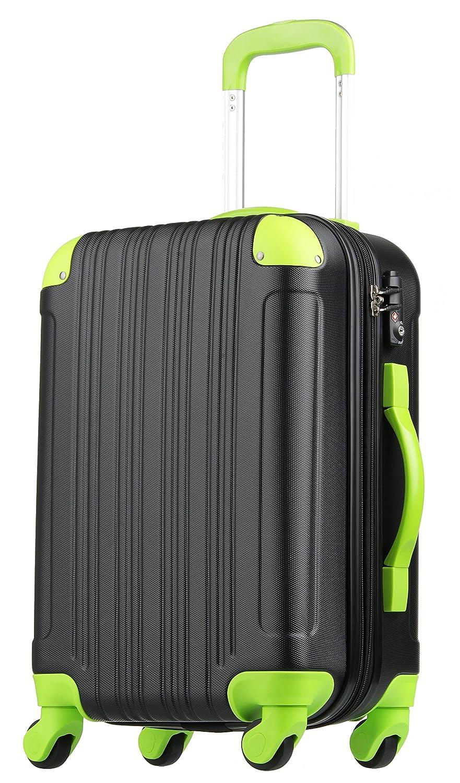 【レジェンドウォーカー】LEGEND WALKER スーツケース 容量拡張 TSAロック 超軽量 マット加工 ファスナー開閉 5082 B01J3A31YY Sサイズ(3~5泊/47(拡張時56)L)|ブラック/グリーン ブラック/グリーン Sサイズ(3~5泊/47(拡張時56)L)