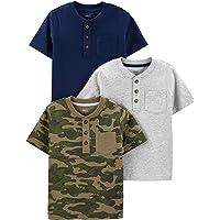 Simple Joys by Carter's 3-Pack Short-Sleeve Pocket Henley tee Shirt bebés niños, Pack de 3