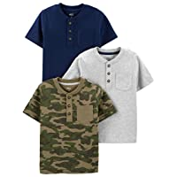 Boys' 3-Pack Short-Sleeve Pocket Henley Tee Shirt