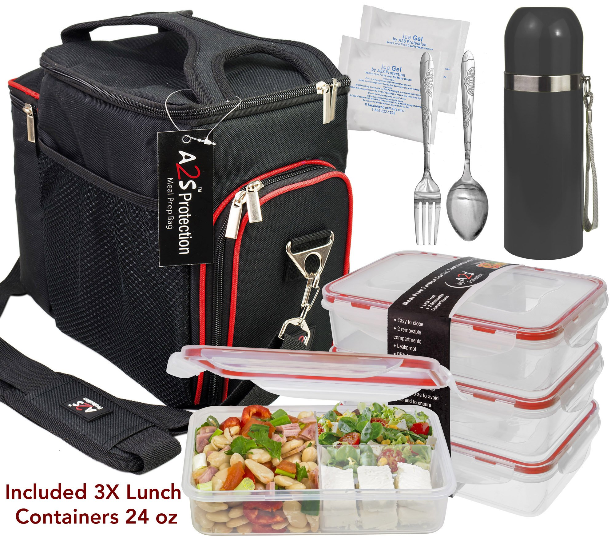 A2S Complete Meal Prep Lunch Box - 8 Pcs Set: Cooler Bag 3x Portion Control Bento Lunch Containers Leakproof 3 Compartments Microwavable BPA Free - Fork & Spoon - Thermos - 2x Ice Gel (Black/Red) by A2S Protection
