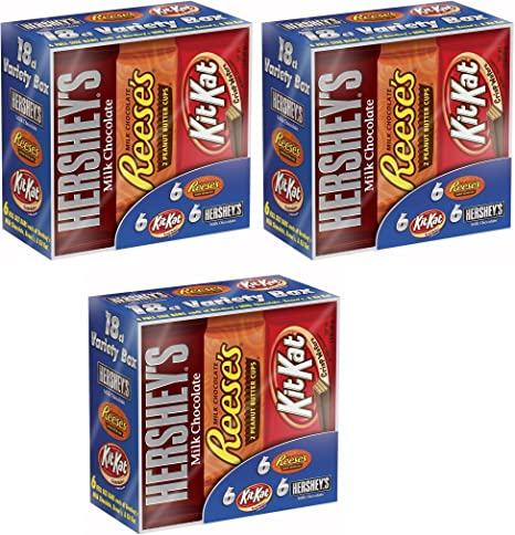 Hershey s Chocolate Candy Bar Variety Pack, Hersheys Chocolate con leche, Reeses mantequilla de cacahuete tazas, y Kit Kat bares, 18 Count caja (3 Pack): Amazon.es: Hogar