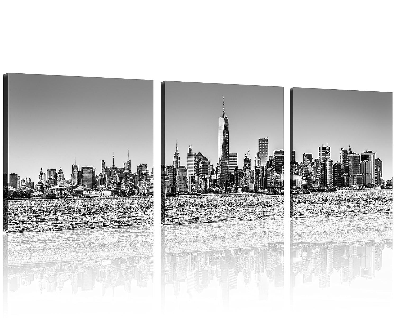 4aa531e3edc QICAI 3 Panel New York Skyline Wall Art New York City Skyline Black   White  Prints On Canvas New York Canvas Black and White Cityscape the Picture nyc  City ...