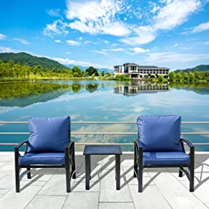 LOKATSE HOME 3 Piece Patio Conversation Outdoor Furniture Modern Metal Bistro Set Two Chairs with Cushion and Side Coffee Table, Blue