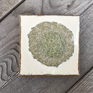 product image for Geode Crackle Coaster in Milk and Honey, Individual Coaster, Geode Coaster, Agate Coaster, Fused Glass Coaster, Crackle Glass Coaster, Dock 6 Pottery Coaster, Dock 6 Pottery, Kerry Brooks Pottery
