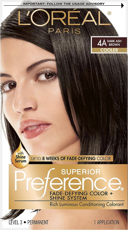 LOréal Paris (public) Préférence Superior 4A Marrón - coloración del cabello (Marrón, 4A, Dark Ash, COLOR GEL: AQUA/WATER/EAU • TRIDECETH-2 ...