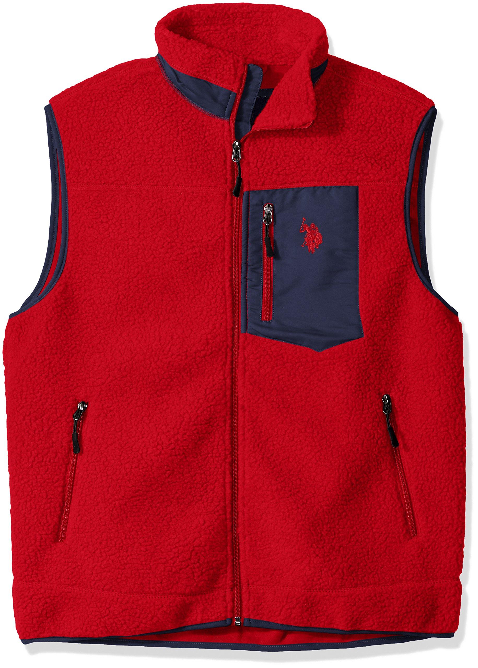U.S. Polo Assn. Men's Full Zip Sherpa Vest, Engine Red, XL by U.S. Polo Assn.
