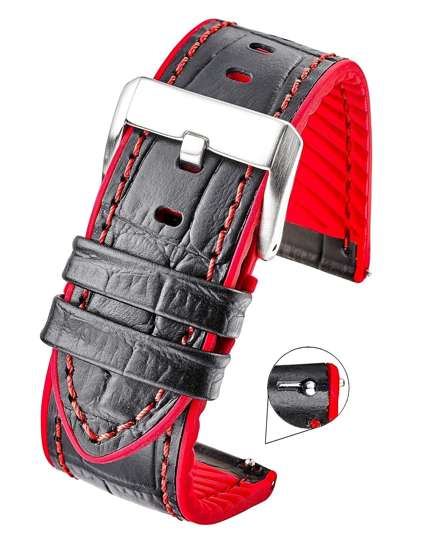 Genuine Alligator Grain Leather Watch Band withシリコン防水裏地とクイックリリーススチールスプリングバー – ブラック/レッド、ブラック/ブルー、ブラック/イエロー、ブラック/オレンジ – 22 mm、24 mm 24MM ブラック/レッド 24MM|ブラック/レッド ブラック/レッド 24MM B07B2LSC8P
